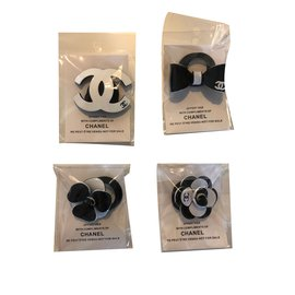 Chanel-Chanel vip gift hair ties, set of 4-White