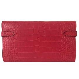 Hermès-Hermes portefeuille kelly wallet-Rose
