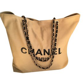 Chanel-Chanel beige bag vip gift 2018 Gold chain-Beige
