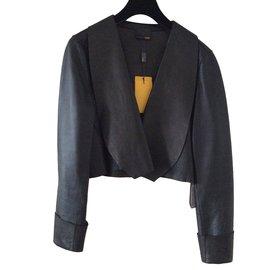 Fendi-Veste blouson court en cuir noir Fendi-Noir