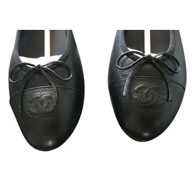 Chanel-chanel ballerine ballerines pebbled ballets flat-Noir