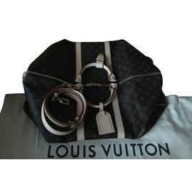 Louis Vuitton-M41414 Keepall  Monogram 55 Bandoulière-Brown,Beige,Golden