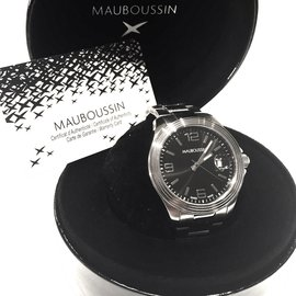 "Mauboussin-Mauboussin Men's Automatic ""Homme d'Humour'  40MM, platinum and steel, transparent sapphire crystal back-Silvery"