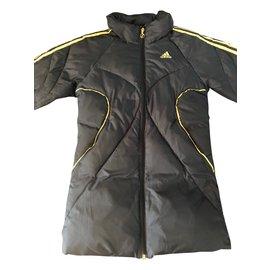 Adidas-Blousons, manteaux filles-Noir,Doré