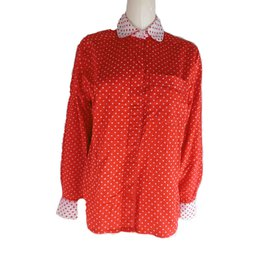 Céline-Celine Polka Dot Blouse-White,Red