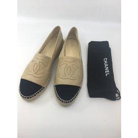 Chanel-Espadrilles-Black,Beige