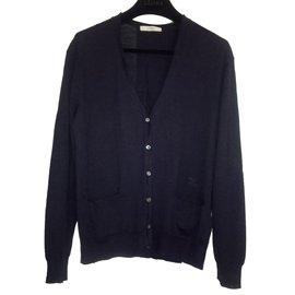 Céline-Céline Cardigan in Wool and Silk, colour Navy-Navy blue