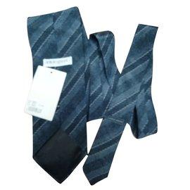 Giorgio Armani-Cravate gris bleu-Gris