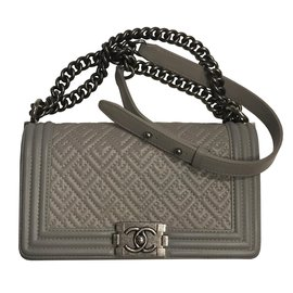 Chanel-Boy Bag unique pattern-Grey