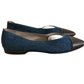 Chanel-Chanel classic denim and leather flats EU 37-Brown,Blue