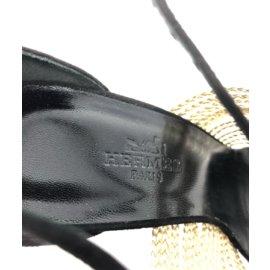 Hermès-Black and Gold Suede heels-Black