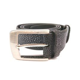 Autre Marque-Black stingray leather belt-Black