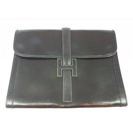 Hermès-Pochette vintage ''Jige'' en cuir noir-Noir