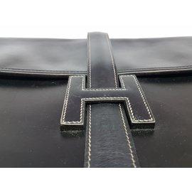 Hermès-Black vintage leather ''Jige'' clutch-Black