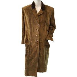 Hermès-Leather calf leather  coat-Khaki