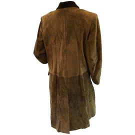 Hermès-Manteau en daim khaki-Kaki