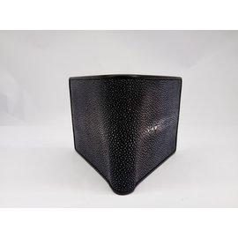 Autre Marque-Black leather wallet-Black