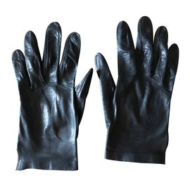 Autre Marque-Paire gants cuir noir agneau-Noir