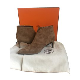 Hermès-Bottines-Caramel