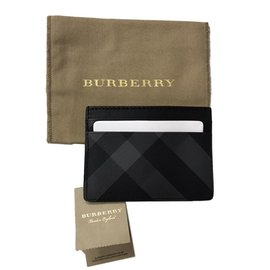 Burberry-card case burberry black and charcoal-Black