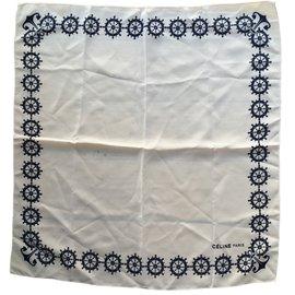 Céline-Silk scarves-Eggshell,Navy blue