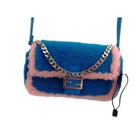 Fendi-Micro baguette-Rose,Bleu