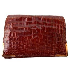 Hermès-Portefeuille en crocodile marron-Marron