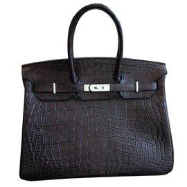 Hermès-Birkin 35 alligator-Dark brown