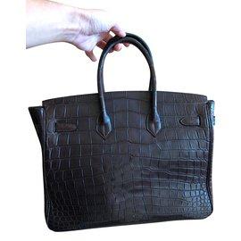 Hermès-Birkin 35 alligator-Marron foncé
