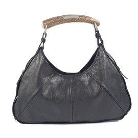 Yves Saint Laurent-Sac ''''Mombassa'' en cuir noir-Noir