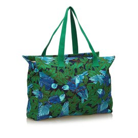 Hermès-Sac cabas en coton imprimé-Multicolore,Vert