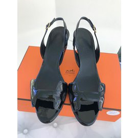 Hermès-Sandales sling back Night 70-Noir