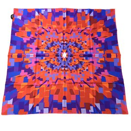 Chanel-carré foulard soie-Bleu,Orange,Violet ... 08c70935251