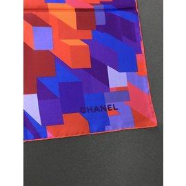 Chanel-carré foulard soie-Bleu,Orange,Violet
