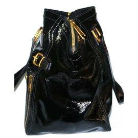 Yves Saint Laurent-Downtown cuir verni noir-Noir