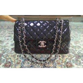 Chanel-Black patent leather classic medium flap bag-Black