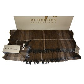Burberry-escharpe scarf cashmere new with tag-Brown