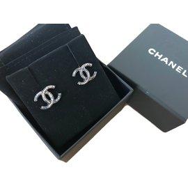 Chanel-Boucles d'oreilles logo CC-Bleu