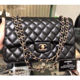 Chanel-Chanel Classic Black lambskin Jumbo Flag bag-Black