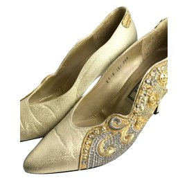 99de43510 Gianni Versace-Gianni versace satin glittery jewelled heels  36-Golden,Bronze,Light ...