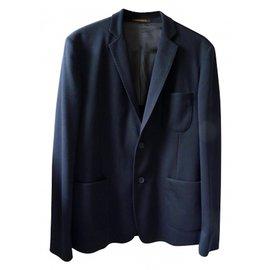 Adolfo Dominguez-veste marine foncé tissu jersey-Bleu foncé