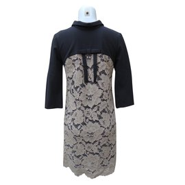 Twin Set-Dresses-Black,Beige