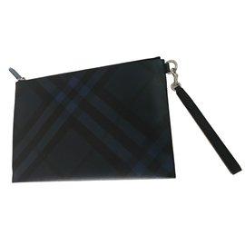 Burberry-Pochette zippée à motif London check-Noir,Bleu
