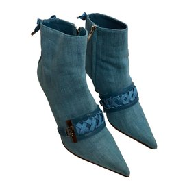 Christian Dior-Ankle boots-Light blue