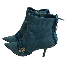 Christian Dior-Bottines-Bleu clair