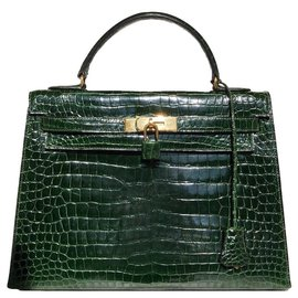 Hermès-Sublime & Rare Kelly 32 en Crocodile Porosus-Vert