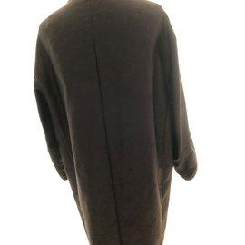 Dries Van Noten-Manteau marron mi long avec imprimé-Marron