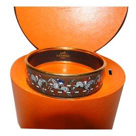 Hermès-Bracelet émail-Marron