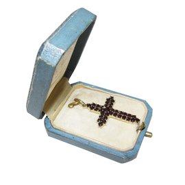 Autre Marque-croix pendentif en or 585/000 14k et grenats-Rouge
