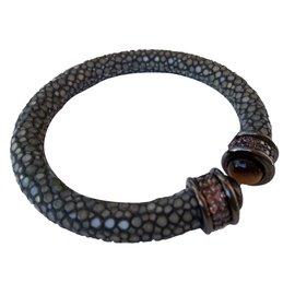 Autre Marque-Bracelet en galuchat gris-Gris